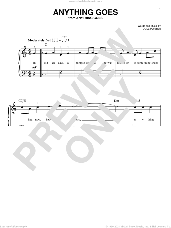 Anything Goes sheet music for piano solo by Cole Porter, beginner skill level