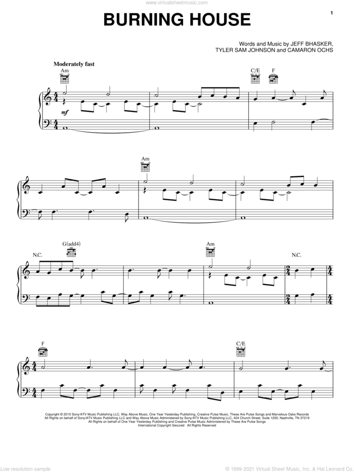 Burning House sheet music for voice, piano or guitar by Cam, Camaron Ochs, Jeffrey Bhasker and Tyler Sam Johnson, intermediate skill level