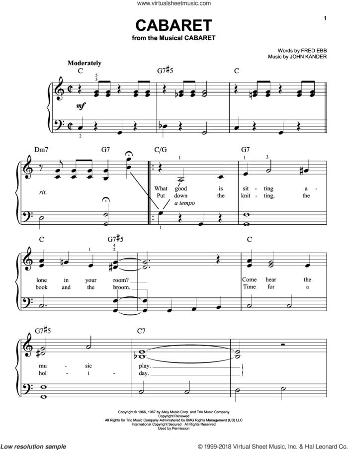 Cabaret sheet music for piano solo by John Kander, Herb Alpert & The Tijuana Brass and Fred Ebb, beginner skill level