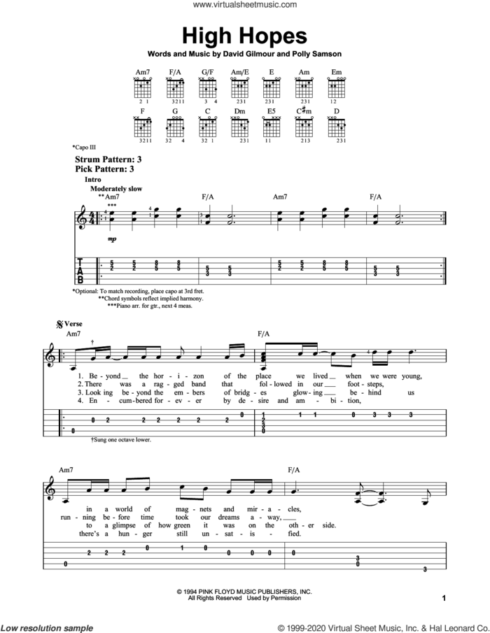 High Hopes sheet music for guitar solo (easy tablature) by Pink Floyd, David Gilmour and Polly Samson, easy guitar (easy tablature)
