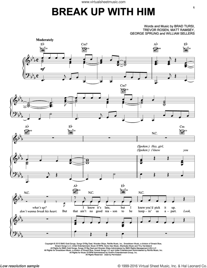 Break Up With Him sheet music for voice, piano or guitar by Old Dominion, Brad Tursi, George Sprung, Matt Ramsey, Trevor Rosen and William Sellers, intermediate skill level