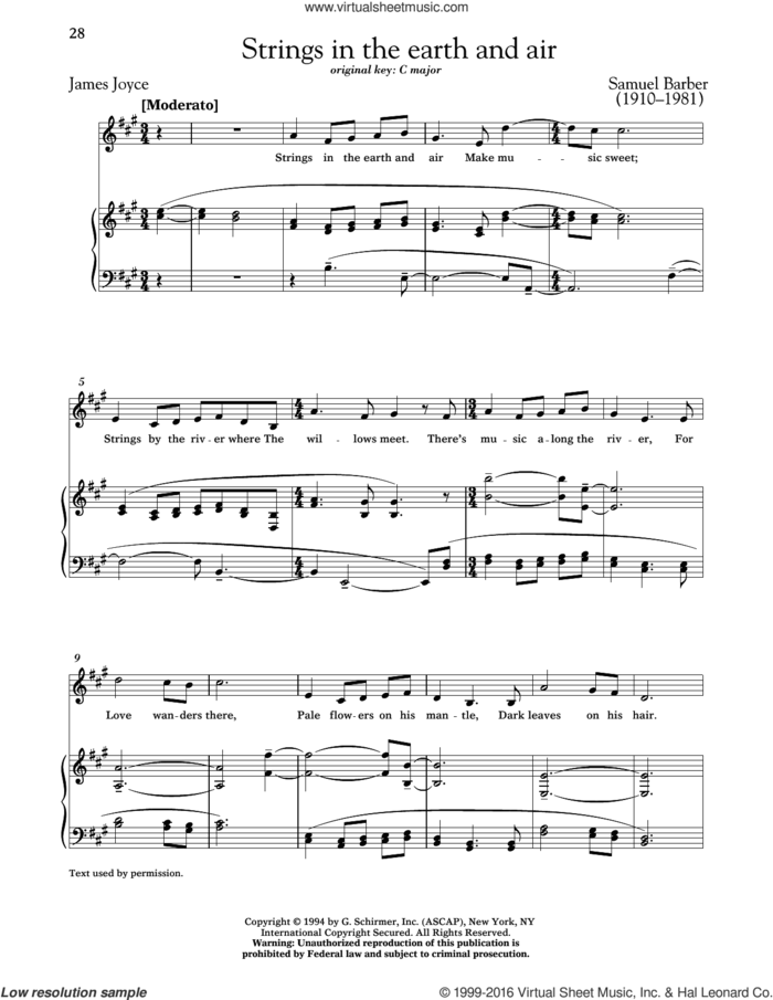 Strings In The Earth And Air sheet music for voice and piano (High Voice) by Samuel Barber, Richard Walters and James Joyce, classical score, intermediate skill level