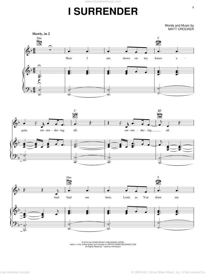 I Surrender sheet music for voice, piano or guitar by Hillsong Live and Matt Crocker, intermediate skill level