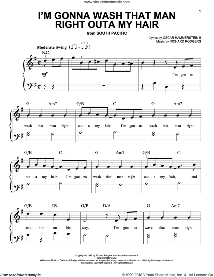 I'm Gonna Wash That Man Right Outa My Hair sheet music for piano solo by Rodgers & Hammerstein, Oscar II Hammerstein and Richard Rodgers, beginner skill level
