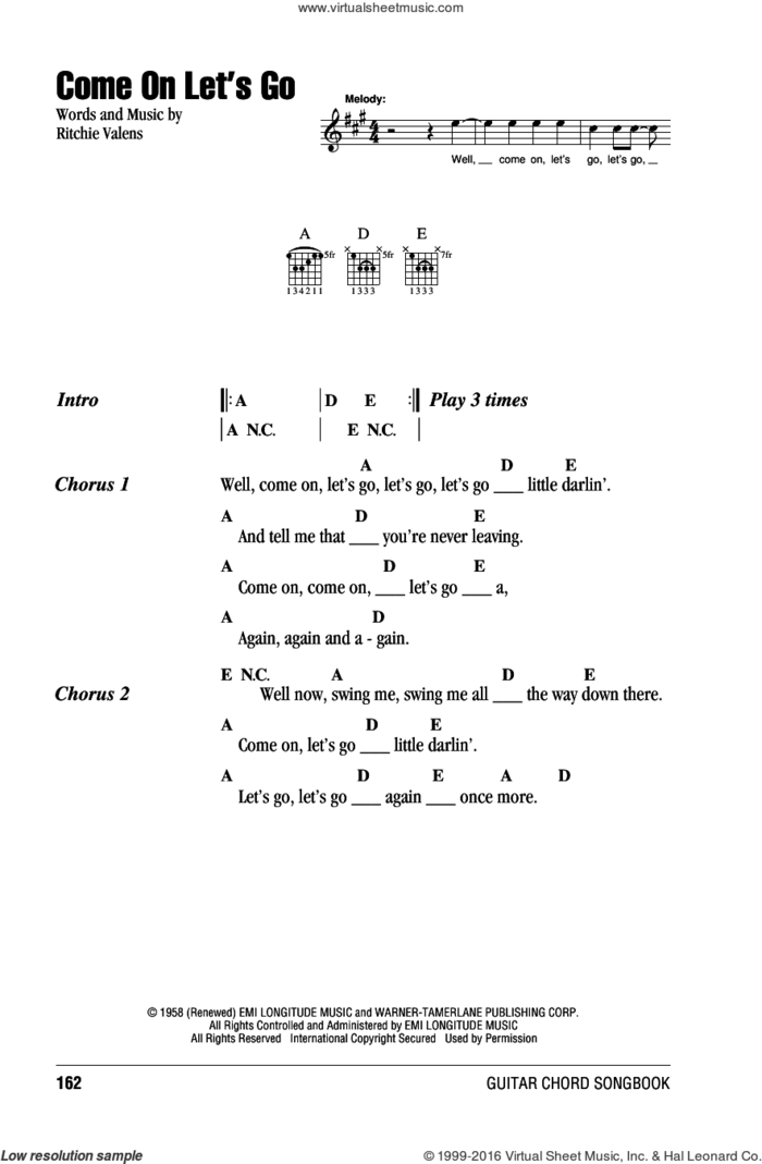 Come On Let's Go sheet music for guitar (chords) by Ritchie Valens, intermediate skill level
