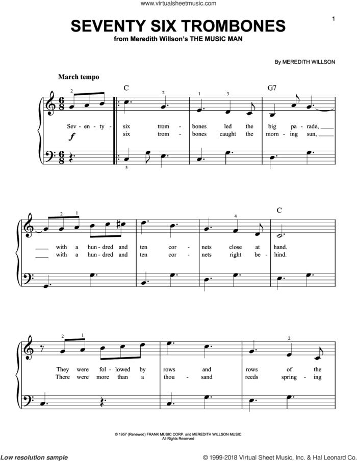 Seventy Six Trombones, (beginner) sheet music for piano solo by Meredith Willson, beginner skill level
