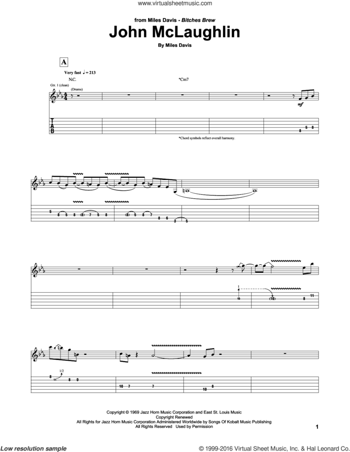 John McLaughlin sheet music for guitar (tablature) by Miles Davis and John McLaughlin, intermediate skill level