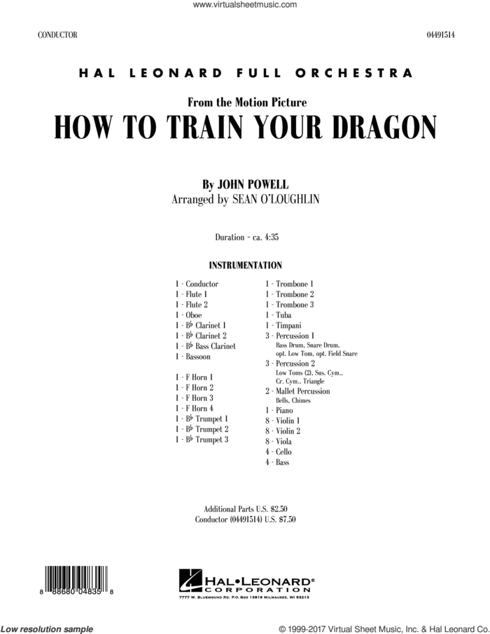 How to Train Your Dragon (COMPLETE) sheet music for full orchestra by John Powell, intermediate skill level