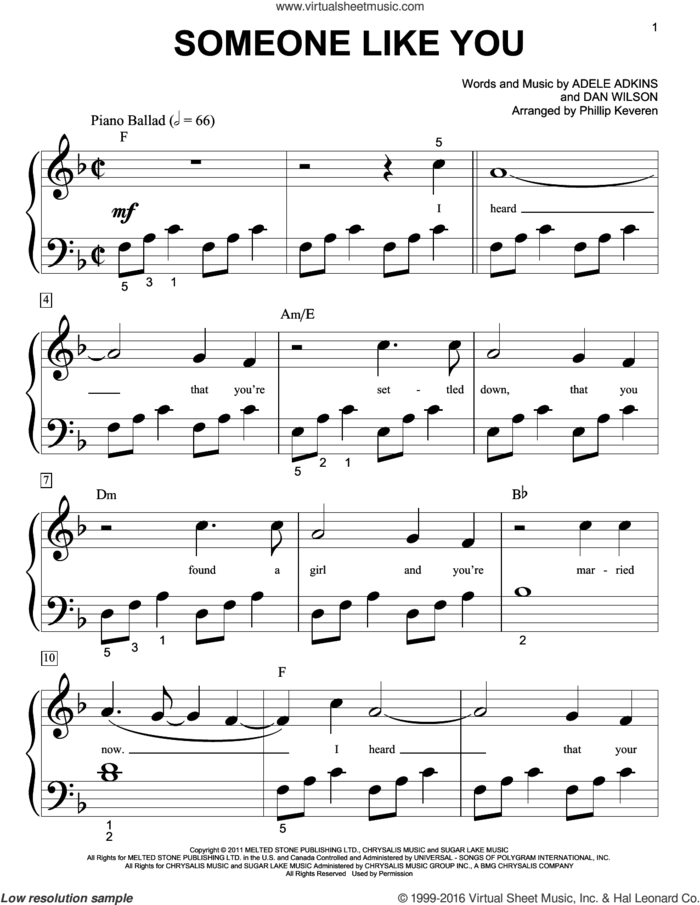Someone Like You sheet music for piano solo (big note book) by Phillip Keveren, Adele, Adele Adkins and Dan Wilson, easy piano (big note book)