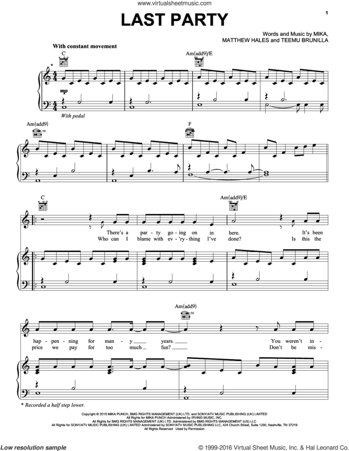 Last Party sheet music for voice, piano or guitar by Mika, Matthew Hales and Teemu Brunilla, intermediate skill level