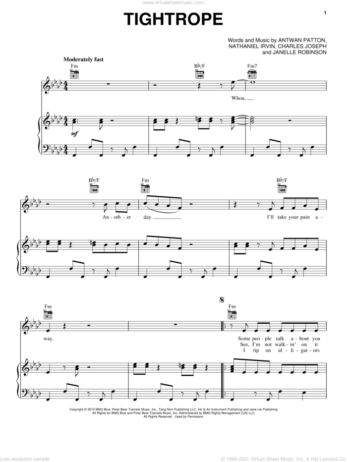 Tightrope sheet music for voice, piano or guitar by Janelle Monae, Janelle  Monae, Janelle MonA�A�e, Antwan Patton, Charles Joseph, Janelle Robinson and Nathaniel Irvin, intermediate skill level
