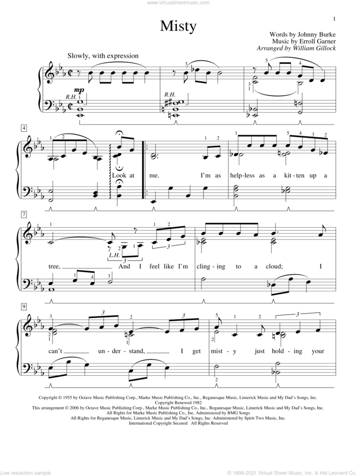 Misty sheet music for piano solo (elementary) by William Gillock, Johnny Mathis, Erroll Garner and John Burke, beginner piano (elementary)