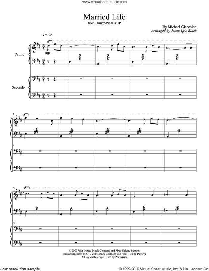 Married Life (from Up) (arr. Jason Lyle Black) sheet music for piano four hands by Michael Giacchino and Jason Lyle Black, intermediate skill level