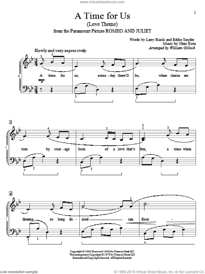 A Time For Us (Love Theme) sheet music for piano solo (elementary) by William Gillock, Eddie Snyder, Larry Kusik and Nino Rota, beginner piano (elementary)