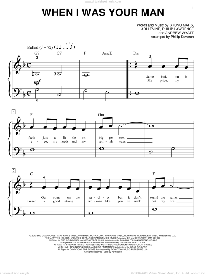 When I Was Your Man (arr. Phillip Keveren) sheet music for piano solo (big note book) by Bruno Mars, Phillip Keveren, Andrew Wyatt, Ari Levine and Philip Lawrence, easy piano (big note book)