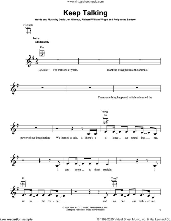 Keep Talking sheet music for ukulele by Pink Floyd, David Jon Gilmour, Polly Anne Samson and Richard William Wright, intermediate skill level