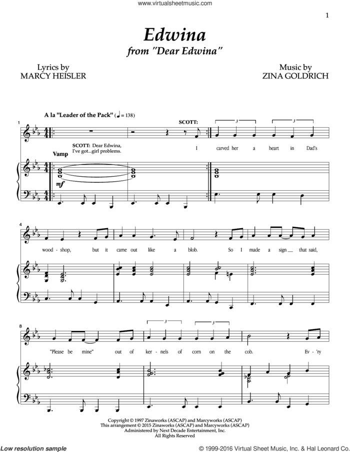 Edwina sheet music for voice and piano by Goldrich & Heisler, Marcy Heisler and Zina Goldrich, intermediate skill level