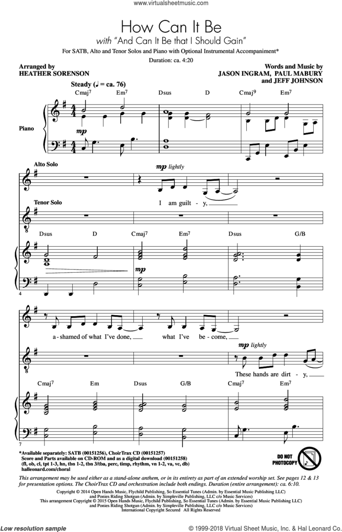 And Can It Be That I Should Gain sheet music for choir (SATB: soprano, alto, tenor, bass) by Charles Wesley, Heather Sorenson, Jason Ingram, Jeff Johnson, Lauren Daigle, Paul Mabury and Thomas Campbell, intermediate skill level