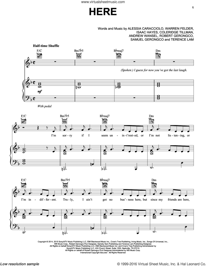 Here sheet music for voice, piano or guitar by Alessia Cara, Andrew Wansel, Coleridge Tillmam, Isaac Hayes, Robert Gerongco, Samuel Tigley, Terence Lam and Warren Felder, intermediate skill level