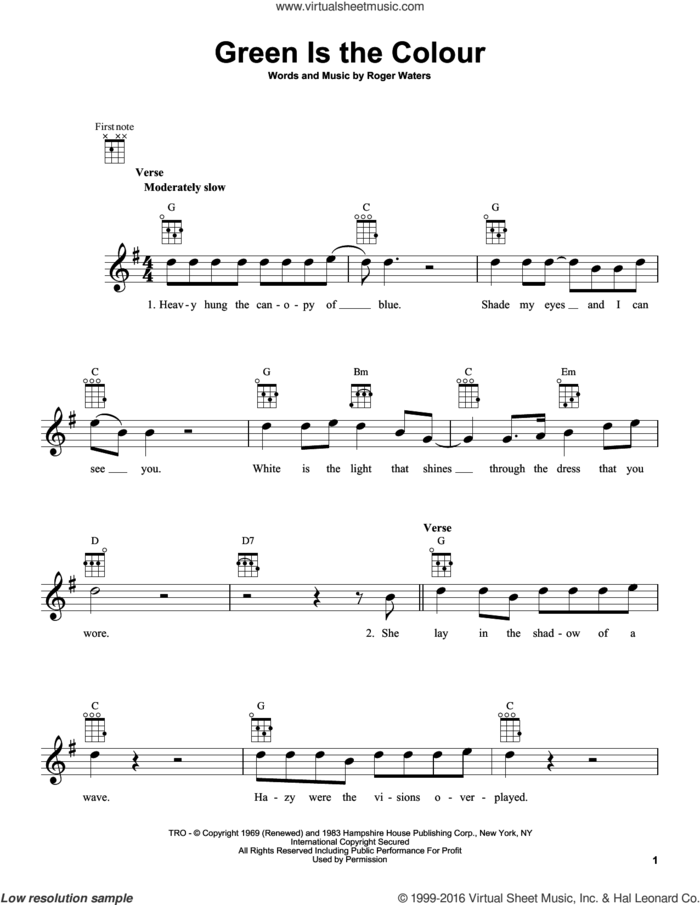 Green Is The Colour sheet music for ukulele by Pink Floyd and Roger Waters, intermediate skill level