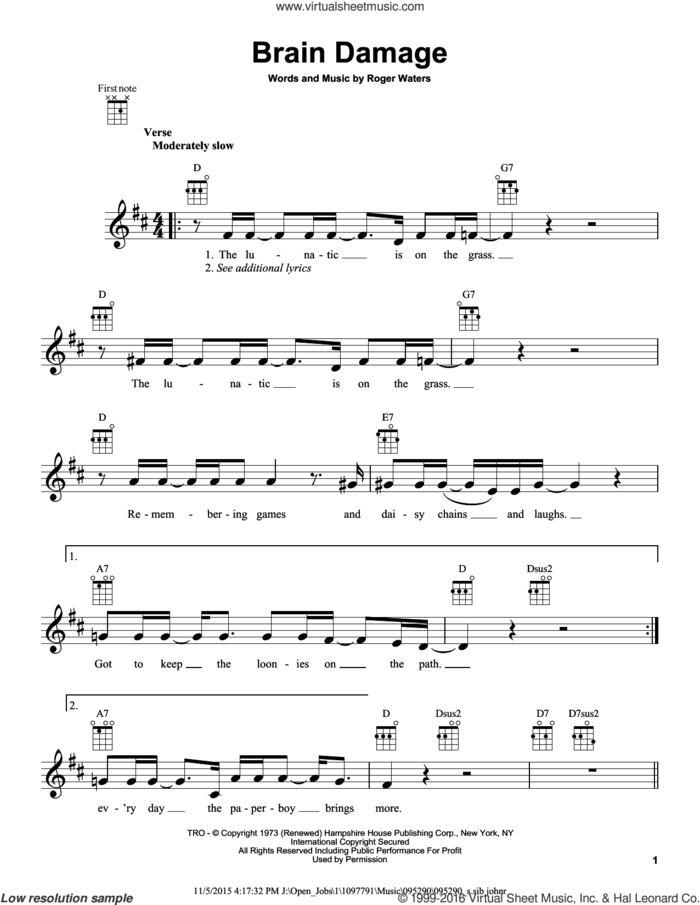 Brain Damage sheet music for ukulele by Pink Floyd and Roger Waters, intermediate skill level
