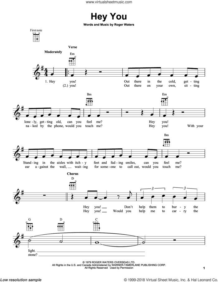 Hey You sheet music for ukulele by Pink Floyd and Roger Waters, intermediate skill level