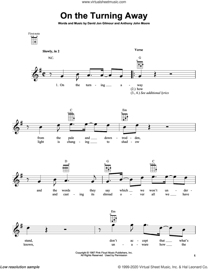 On The Turning Away sheet music for ukulele by Pink Floyd, Anthony John Moore and David Jon Gilmour, intermediate skill level