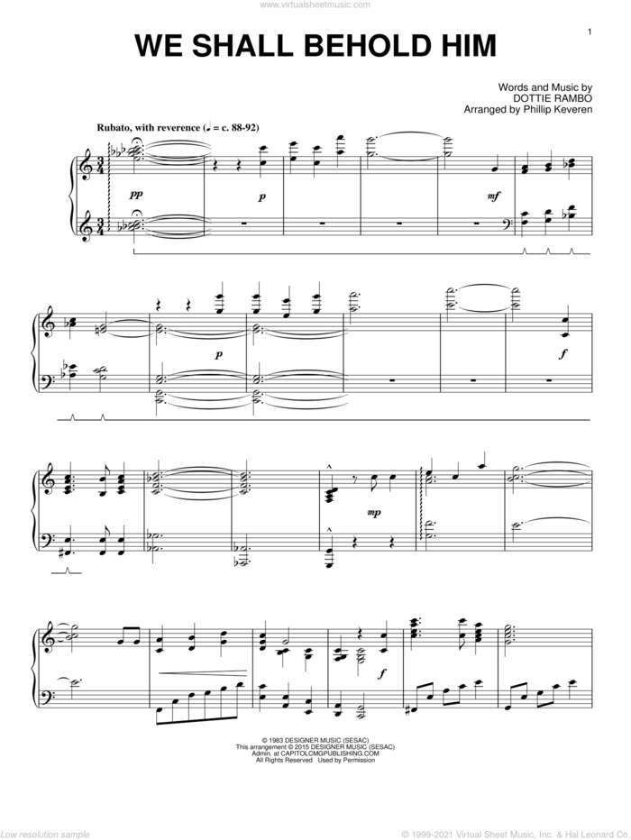 We Shall Behold Him sheet music for piano solo by Dottie Rambo and Phillip Keveren, intermediate skill level