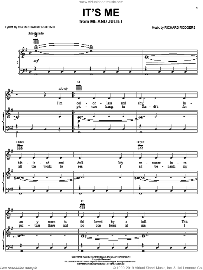 It's Me sheet music for voice, piano or guitar by Rodgers & Hammerstein, Me And Juliet (Musical), Oscar II Hammerstein and Richard Rodgers, intermediate skill level
