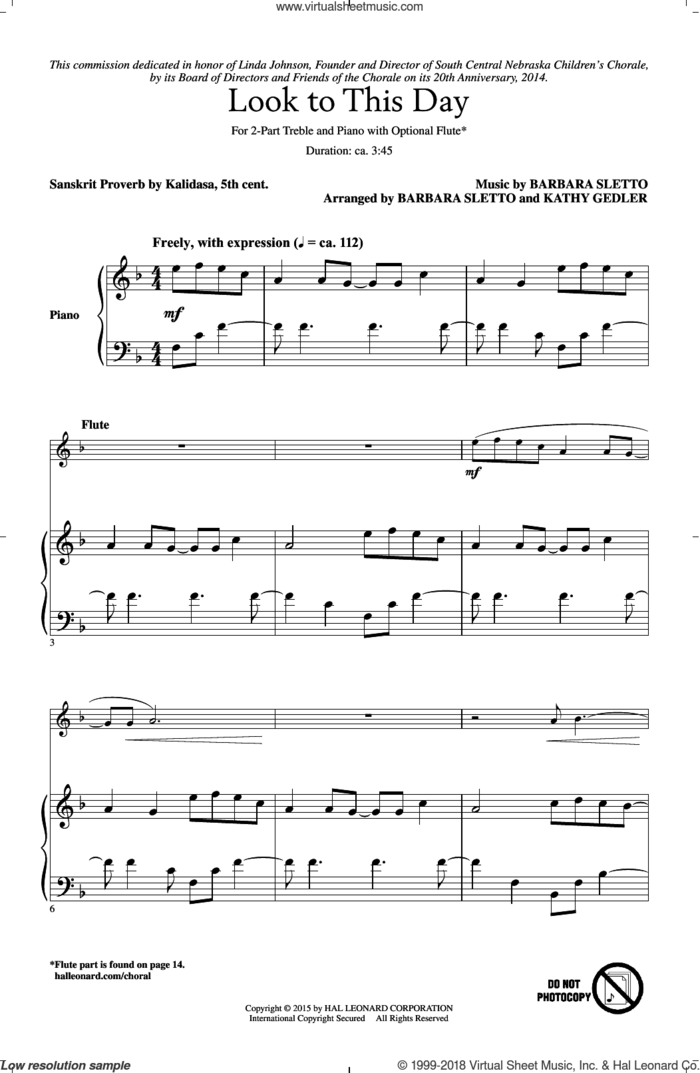 Look To This Day sheet music for choir (2-Part) by Barbara Sletto, Kathy Gedler and Sanskrit Proverb, intermediate duet