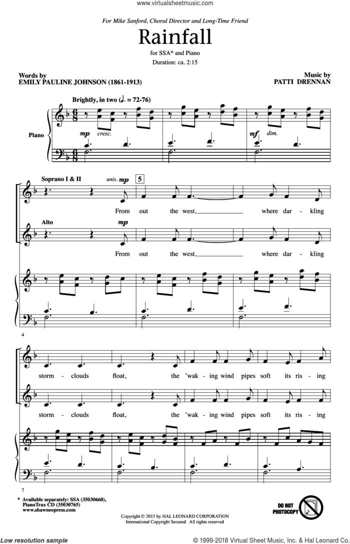 Rainfall sheet music for choir (SSA: soprano, alto) by Patti Drennan and Emily Pauline Johnson, intermediate skill level
