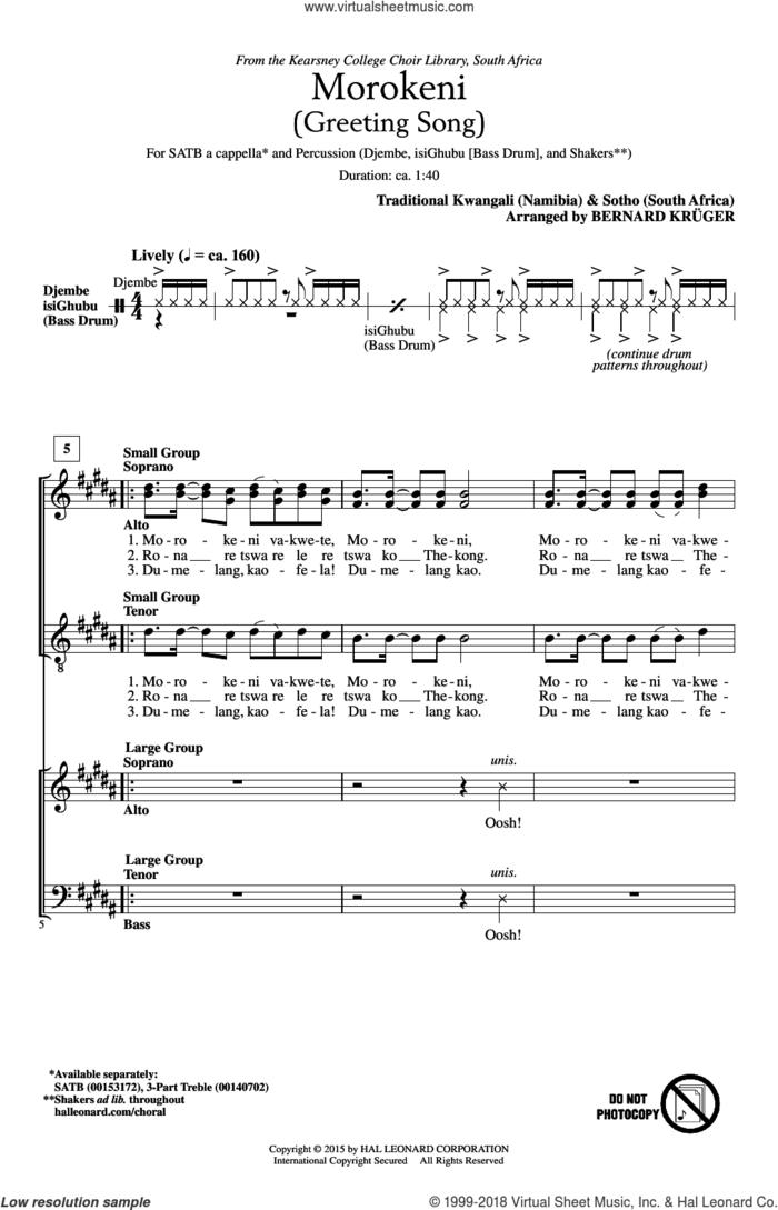 Morokeni (Welcome Song) sheet music for choir (SATB: soprano, alto, tenor, bass) by Bernard Kruger and Traditional Kwangali (Namibia), intermediate skill level