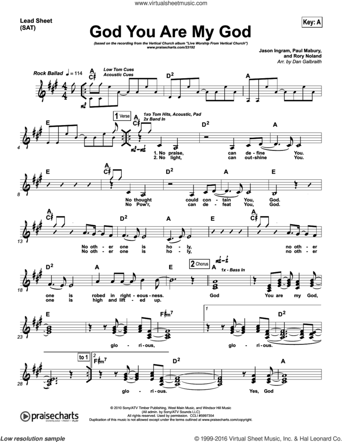 God You Are My God sheet music for voice and other instruments (fake book) by Dan Galbraith and Jason Ingram / Paul Mabury / Rory Noland, intermediate skill level