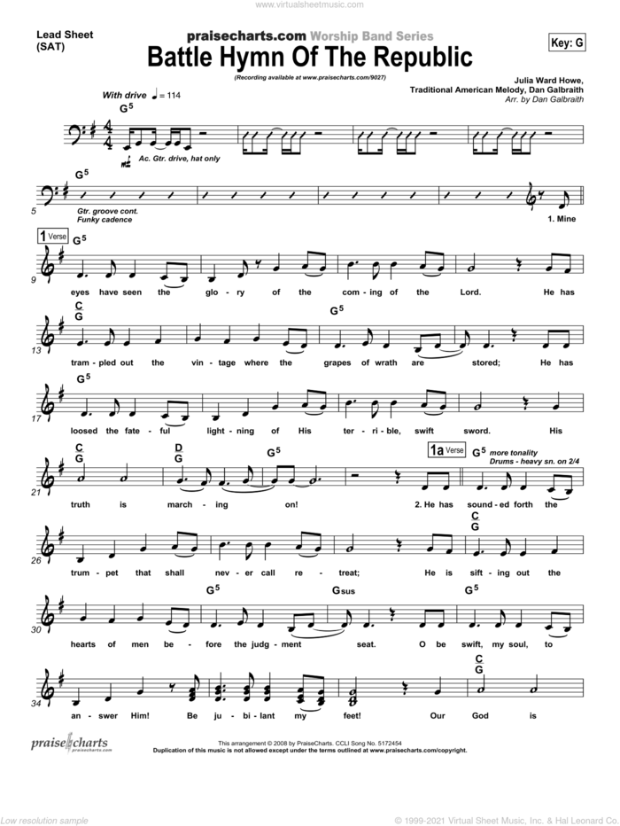 Battle Hymn of the Republic sheet music for voice and other instruments (fake book) by Dan Galbraith, intermediate skill level
