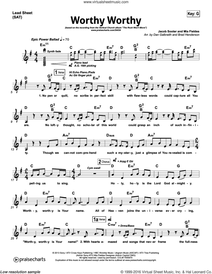 Worthy Worthy sheet music for voice and other instruments (fake book) by Dan Galbraith and Jacob Sooter / Mia Fieldes, intermediate skill level