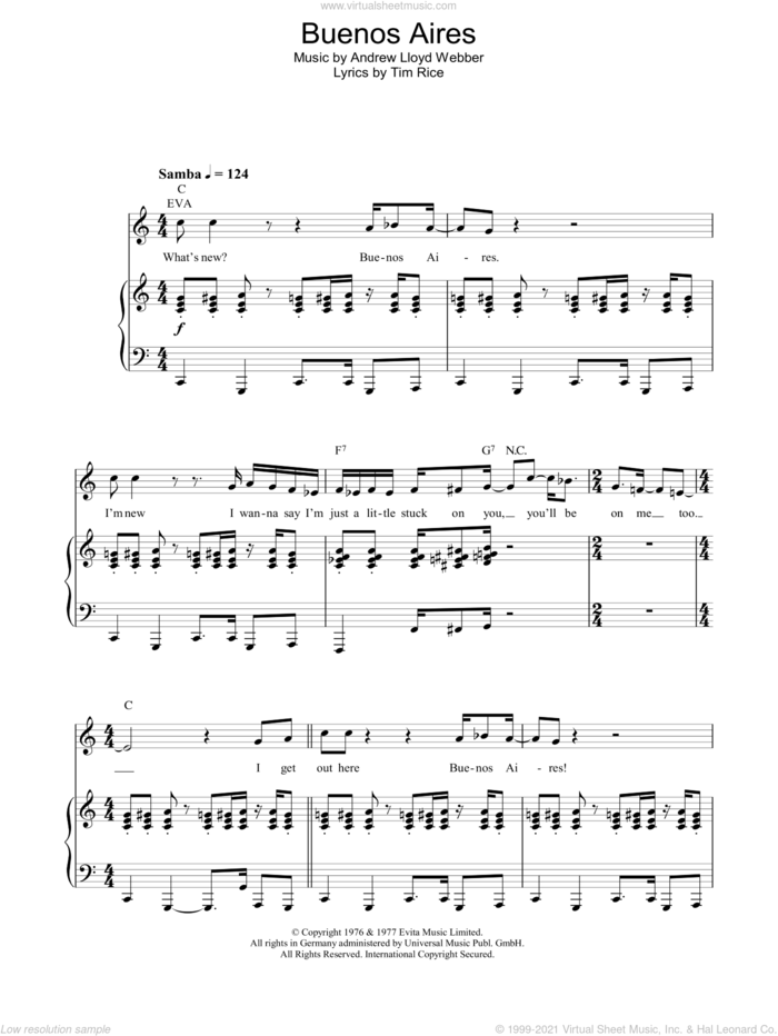 Buenos Aires sheet music for voice, piano or guitar by Andrew Lloyd Webber, Evita (Musical), Madonna and Tim Rice, intermediate skill level