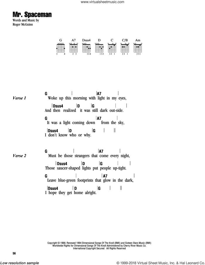 Mr. Spaceman sheet music for guitar (chords) by The Byrds and Roger McGuinn, intermediate skill level