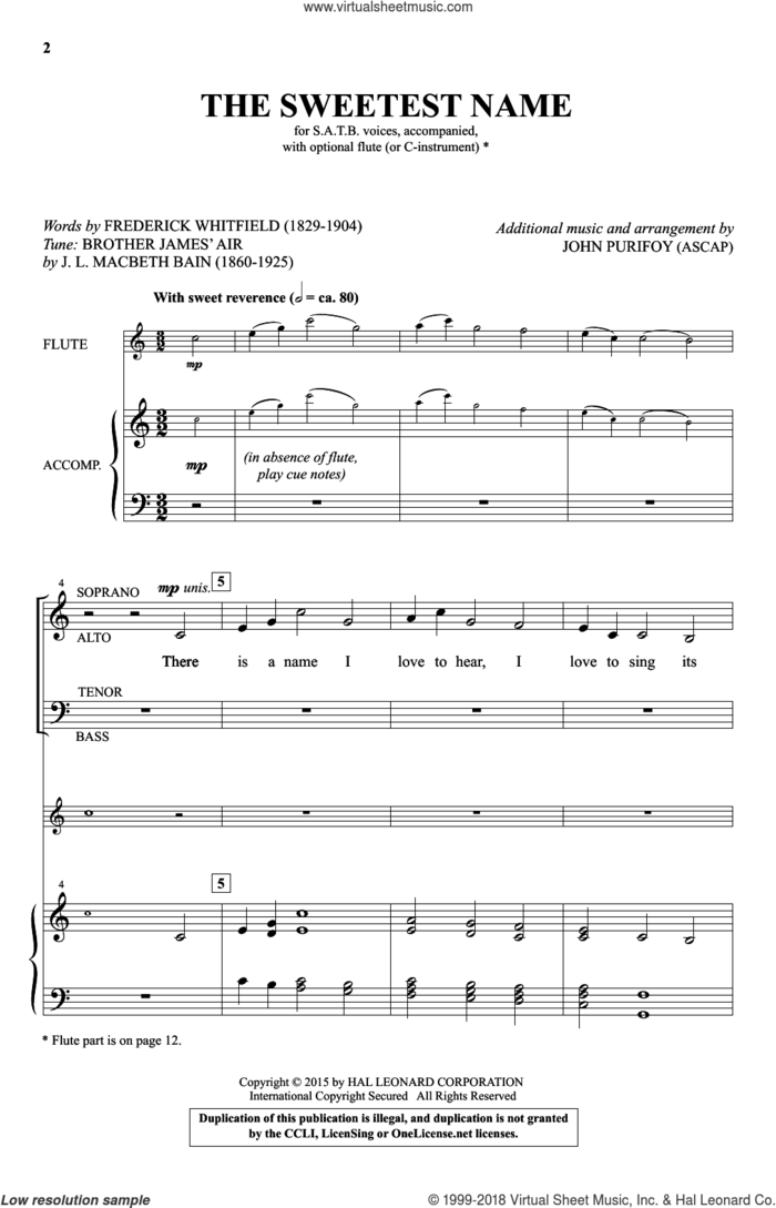 The Sweetest Name sheet music for choir by John Purifoy and Frederick Whitfield, intermediate skill level
