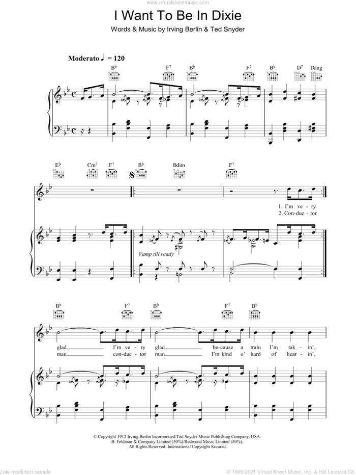 I Want To Be In Dixie sheet music for voice, piano or guitar by Irving Berlin and Ted Snyder, intermediate skill level