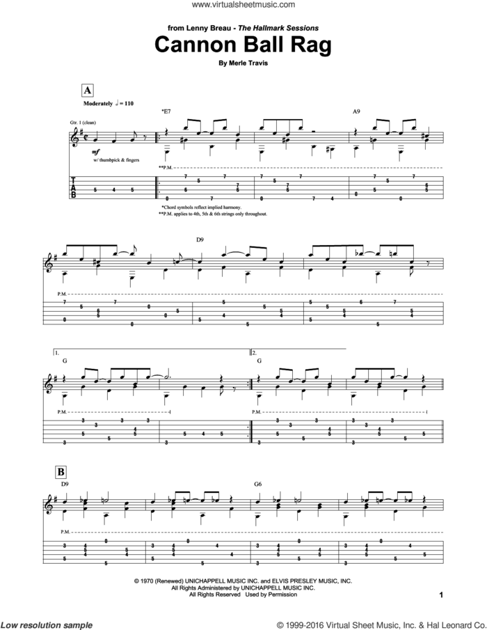 Cannon Ball Rag sheet music for guitar (tablature) by Lenny Breau and Merle Travis, intermediate skill level