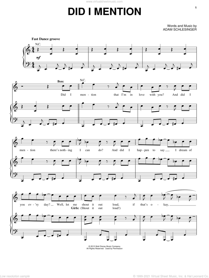 Did I Mention (from Disney's Descendants) sheet music for voice, piano or guitar by Adam Schlesinger, intermediate skill level