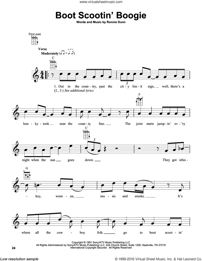 Boot Scootin' Boogie sheet music for ukulele by Brooks & Dunn and Ronnie Dunn, intermediate skill level