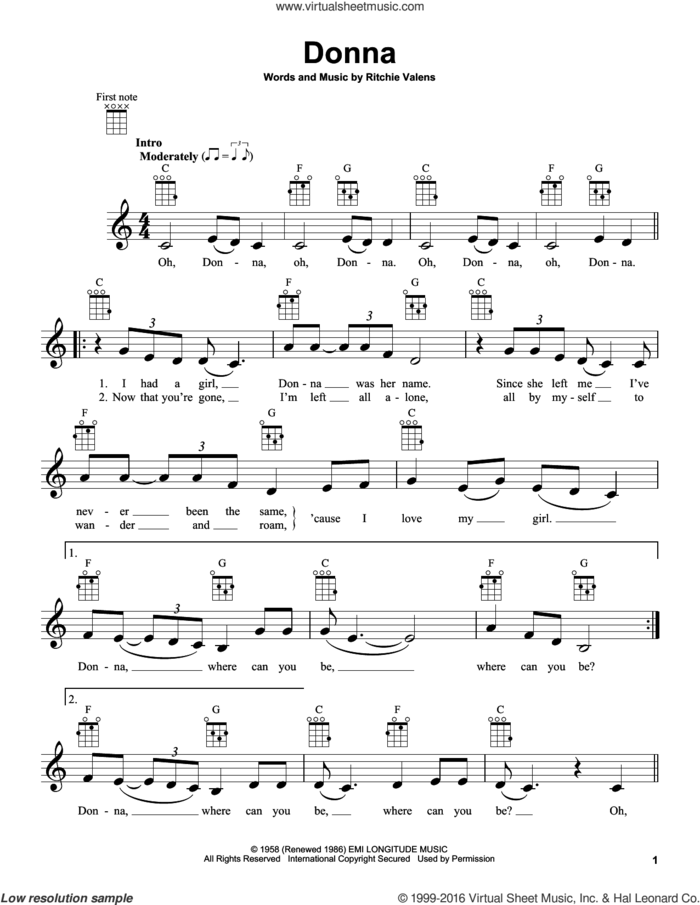 Donna sheet music for ukulele by Ritchie Valens, intermediate skill level