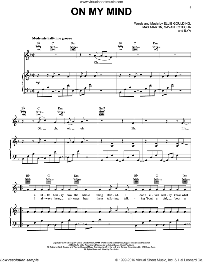 On My Mind sheet music for voice, piano or guitar by Ellie Goulding, Ilya, Max Martin and Savan Kotecha, intermediate skill level