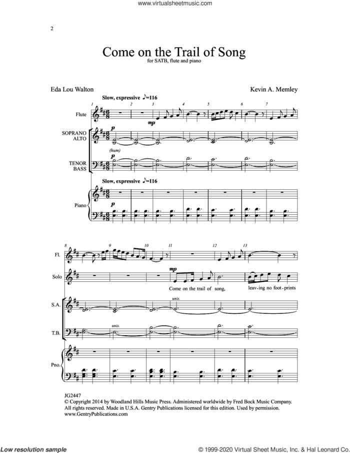 Come on the Trail of Song sheet music for choir (SATB: soprano, alto, tenor, bass) by Kevin A. Memley, intermediate skill level