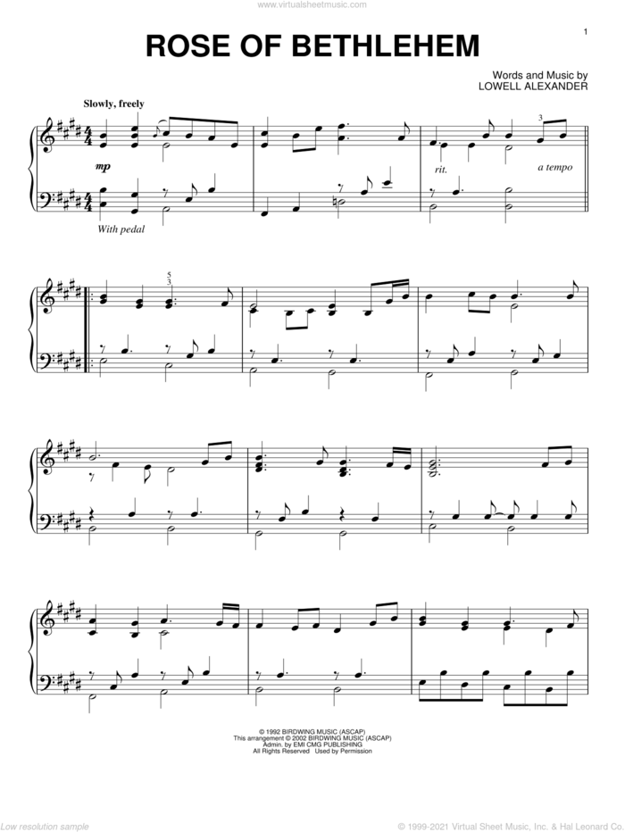 Rose Of Bethlehem sheet music for piano solo by Steve Green and Lowell Alexander, intermediate skill level