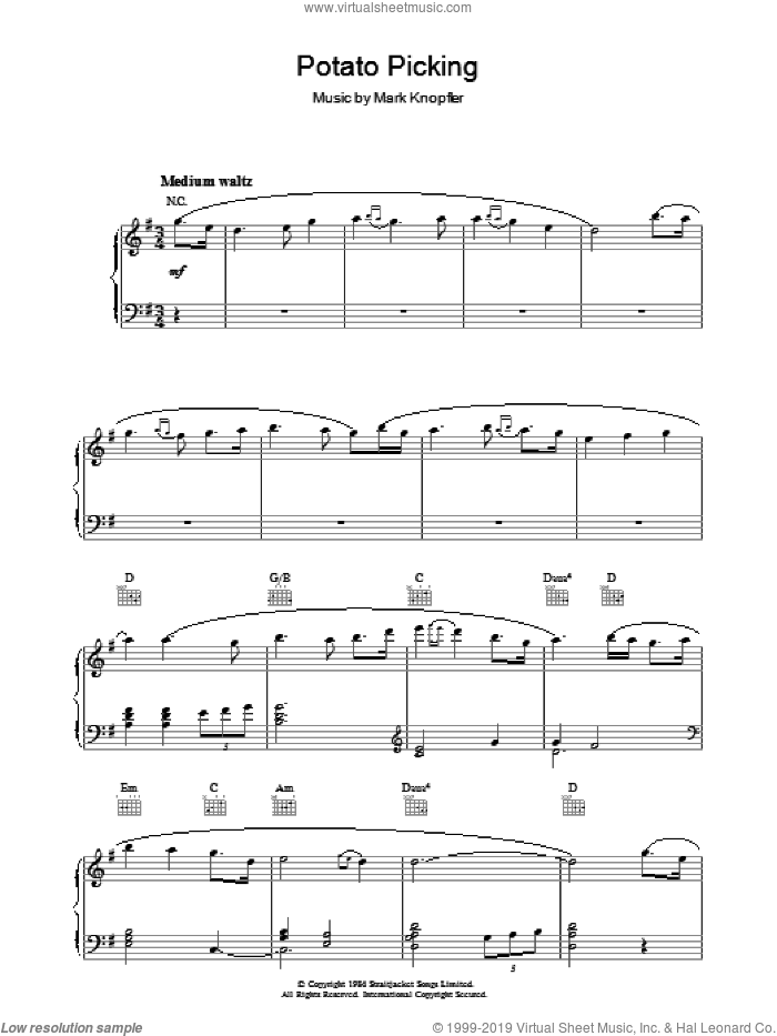 Potato Picking (from Cal) sheet music for piano solo by Mark Knopfler, intermediate skill level