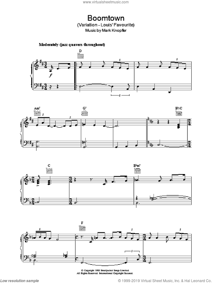 Boomtown (Variation - Louis' Favourite) (from Local Hero) sheet music for piano solo by Mark Knopfler, intermediate skill level