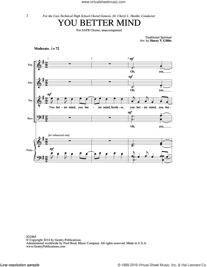 You Better Mind sheet music for choir (SATB: soprano, alto, tenor, bass) by Stacey V. Gibbs, intermediate skill level