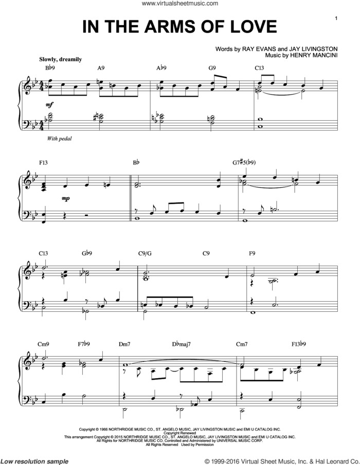 In The Arms Of Love [Jazz version] (arr. Brent Edstrom) sheet music for piano solo by Henry Mancini, Jay Livingston and Raymond B. Evans, intermediate skill level